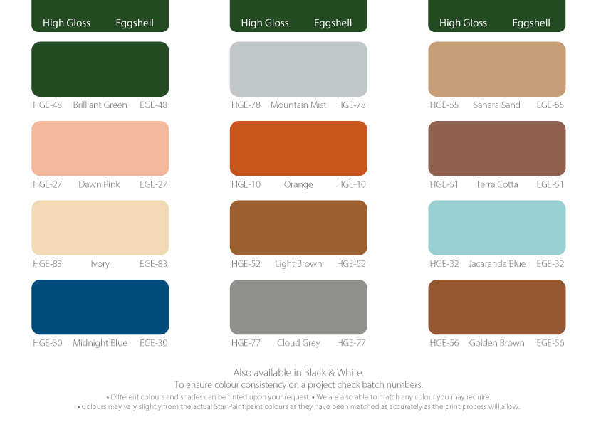 Panache Paint Colour Chart