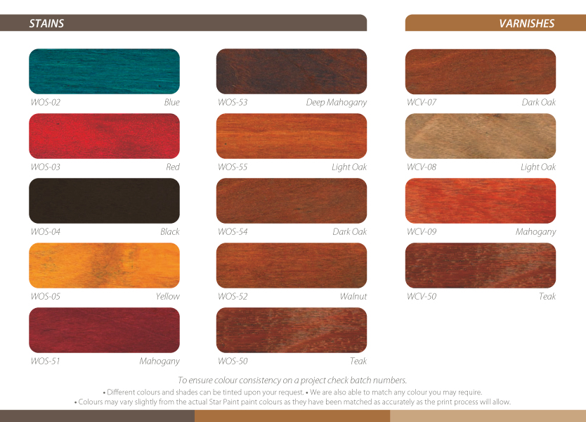 Star Paint Wood Care Colour Chart Final Colours