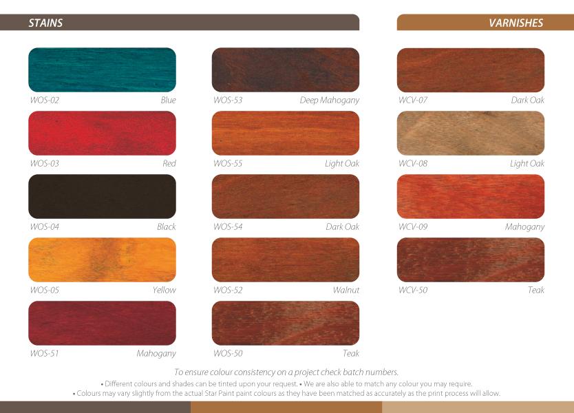 Star Paint Wood Care Colour Chart Final Colours